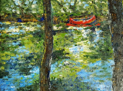 Mystic River Canoe, 2017. Oil on canvas. 18 by 24 inches.