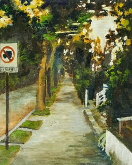 Cameron Sidewalk, 2014. Oil on canvas board. 8 by 10 inches.