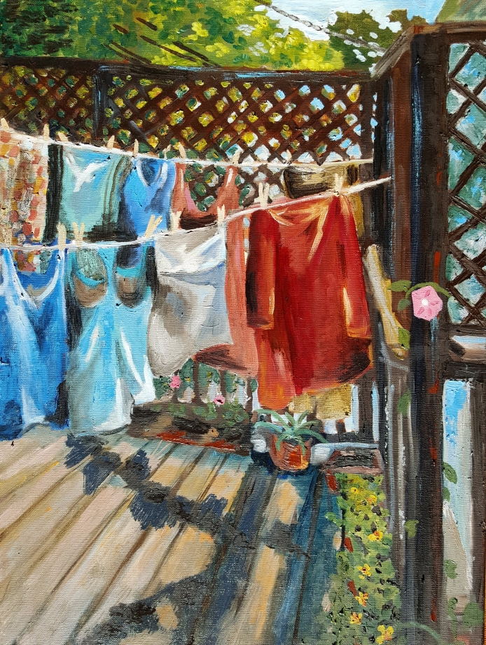 Laundry, 2014. Oil on canvas. 18 by 24 inches.
