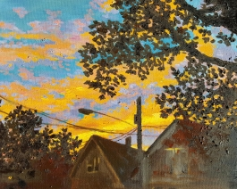Cameron Sunset, 2013. Oil on canvas. 16 by 20 inches. Not for sale. Prints available.