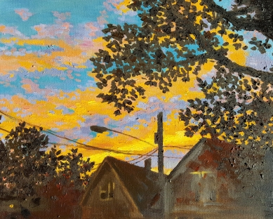 Cameron Sunset, 2013. Oil on canvas. 16 by 20 inches.