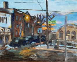Porter Square Bus Stop, 2013. Oil on canvas. 16 by 20 inches. For sale, prints also available.
