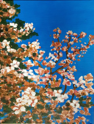 Spring and sky, 2017. Acrylic on canvas. 12 by 16 inches. For sale, prints also available.