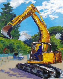 Yellow Digger 2. 2017. Oil on canvas. 16 inches by 20 inches.