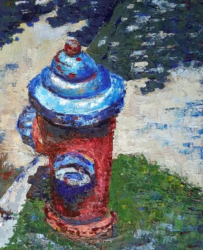 Cameron Ave Fire Hydrant. 2017. Oil on canvas. 16 inches by 20 inches. For sale, prints also available.