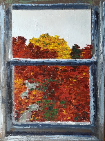 Window Frame, 2017. Oil on canvas. 18 inches by 24 inches. For sale, prints available.
