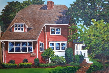 Brown House, 2017. Oil on canvas. 24 by 36 inches.