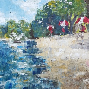 Arlington Reservoir Beach, 2017. Oil and sand on canvas. 12 inches by 12 inches. For sale, prints also available