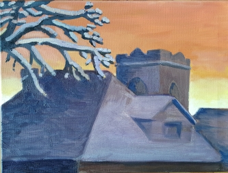 Winter Sunset, 2017. Oil on canvas. 12 by 16 inches. For sale, prints also available.