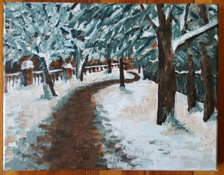 Snowy bike path, 2017. Acrylic on canvas. 11 by 14 inches. For sale, prints also available.