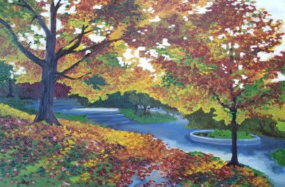 Fall sunshine, 2017. Oil on canvas. 2 feet by 3 feet. For sale, prints available.