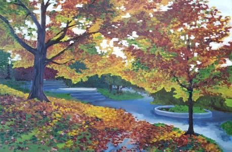 Fall sunshine, 2017. Oil on canvas. 2 feet by 3 feet.