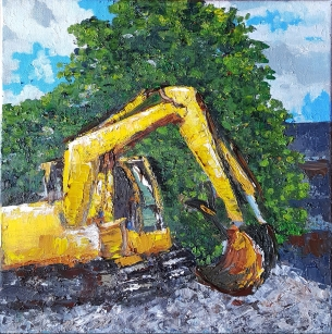 Yellow Excavator, 2017. Oil on canvas. 10 by 10 inches.