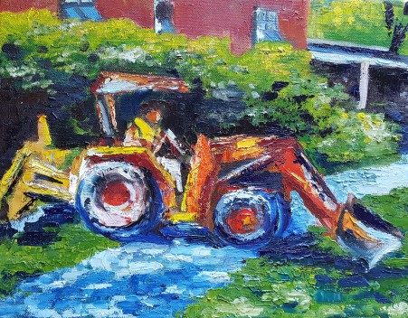 Orange Digger, 2018. Oil on canvas. 11 inches by 14 inches. For sale, prints available.