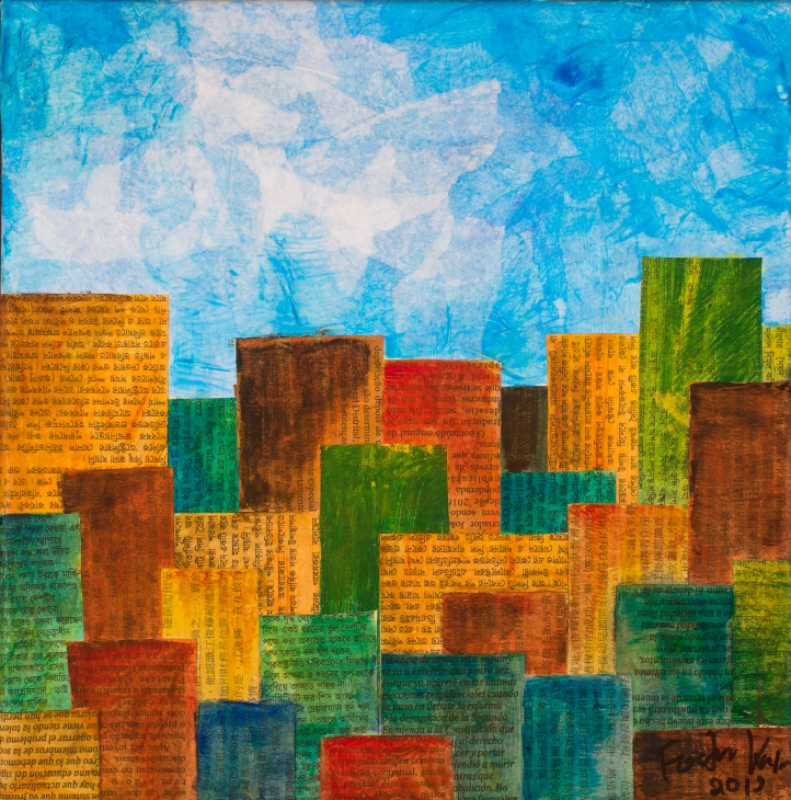 Sunshine City, mixed media. 10 by 10 inches. $120.