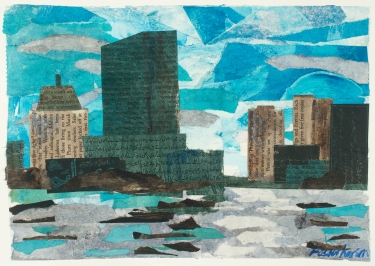 Boston water and sky, mixed media on paper, 8 by 10 inches