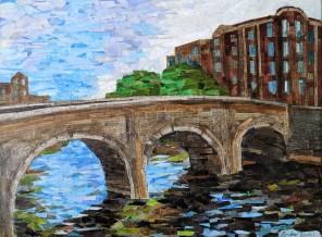 Mellows Bridge, mixed media. 18 by 24. $450.
