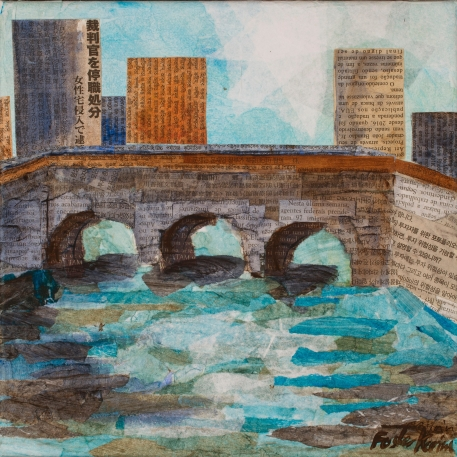 Little Bridge, mixed media. 10 by 10 inches. $120