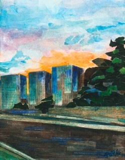 """Somerville Ave Sunset"", right panel. Mixed media. 11 by 14 inches."