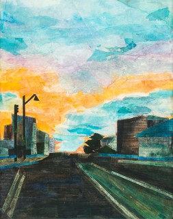 """Somerville Ave Sunset"", middle panel. Mixed media, 11 by 14 inches."